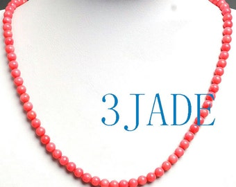 """20 1/4"""" 6mm Genuine Pink Coral Beads Necklace  -D001002"""