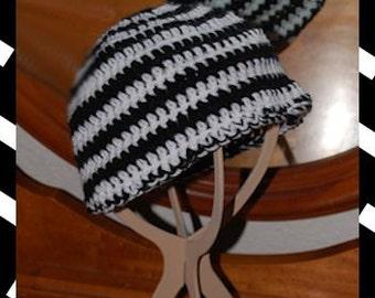 Teen Size Peppermint Stripe Crochet Beanie