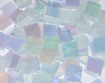 Clear & White Wispy Iridescent Hand Cut Stained Glass Mosaic Tiles - #127