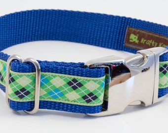 Preppy Argyle Dog Collar / Designer / Nylon Webbing / Aluminum Buckle