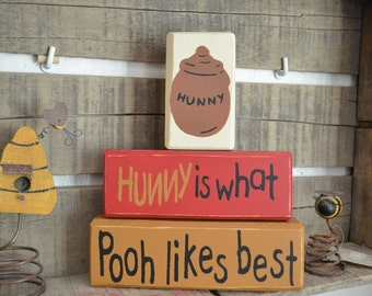 Winnie the Pooh Stacking Wood Blocks about Hunny