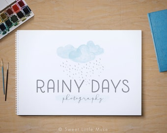 Premade Watercolor clouds logo - photography logo - premade logo  - rain and clouds watercolor