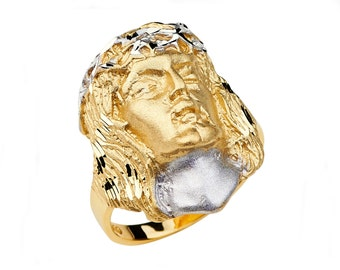 14K Two-Tone Jesus Ring, Jesus Ring, Jesus Jewelry, Religious Jewelry, Christian Jewelry, Christian Ring, Jesus Head, Gold Ring, Jesus