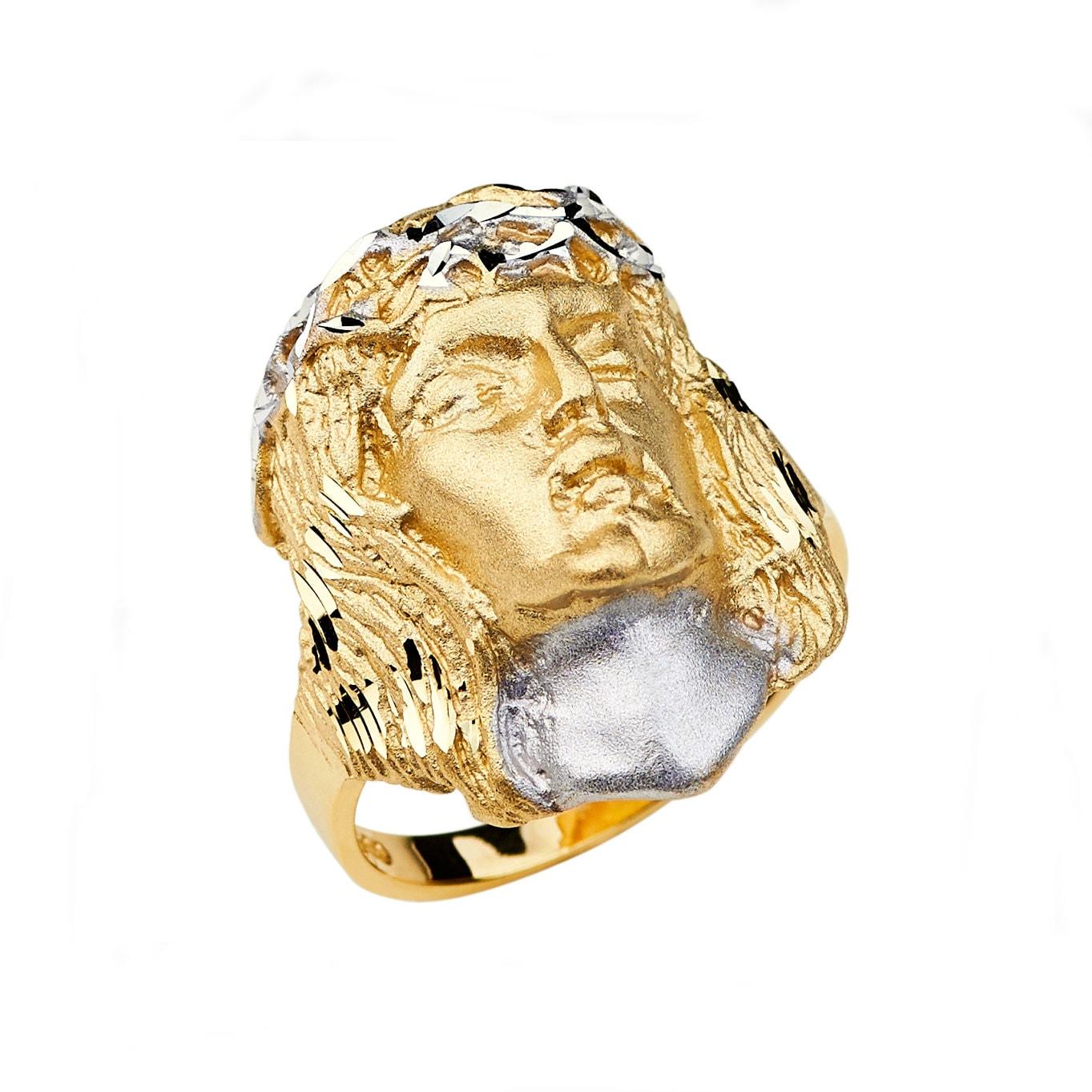 14k two tone jesus ring jesus ring jesus jewelry religious