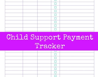 INSTANT Download Child Support Payment Tracker Single PDF Sheet- Home Organization- Printable Lists- Charts