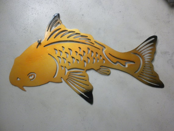 18 inch koi fish yin yang gold and black metal steel by for Koi fish metal art