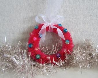 Hand Dyed Bottle Brush Wreath Ornament  Christmas Wreath Ornament
