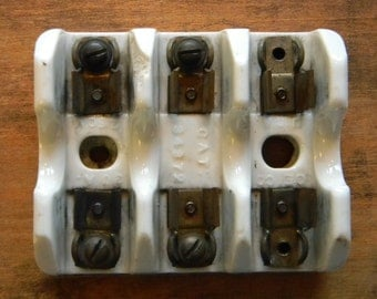 Affordable Steampunk Part - Vintage Glazed Ceramic Fuse Block For 3 Fuses - For Steampunk Crafting