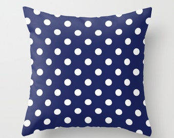 Blue and White Polka Dots Accent Pillow Cover - Throw Pillows - Decorative Pillows