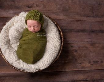 Newborn knit leaf green bonnet with colour options