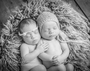 Newborn knit bonnet in mohair blend - linen colour