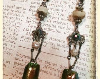 Elegant Jewel Beetle wing earrings~ beaded chandelier dangle earrings ~ taxidermy beetle wings