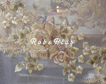 Schiffli Lace - Rhinestone Lace Fabric - Tulle Embroider Lace - Floral Embroidered Lace with Rhinestone Embellishment -Champagne Lace Fabric