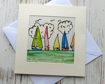 Masculine card - Handmade card for men - sailing ships - boats -  greeting card - birthday card - glass painted -  male cards - uk seller
