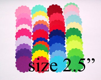 2.5 inch Paper Scalloped Circle Die Cuts / Custom colors