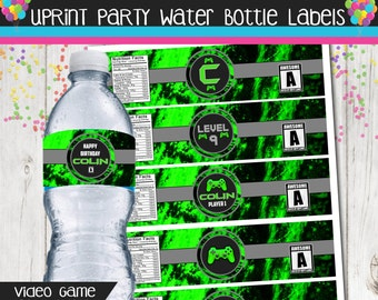 Video Game Birthday - Gamer  - Water Bottle Label - Water Bottle Wrapper Set = Personalized