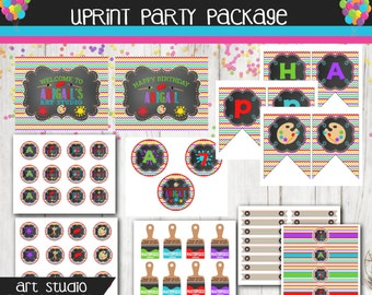 Art Birthday Party Package - Rainbow Chevron Artist Party - Painting