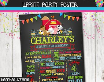 First Birthday Chalkboard Poster- First Birthday Chalkboard Sign - - Barnyard- Farm -