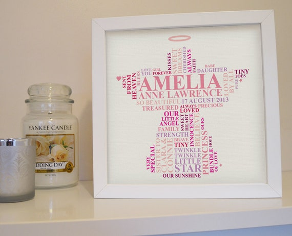 Angel Baby Gifts Uk : Items similar to framed print baby girl gift