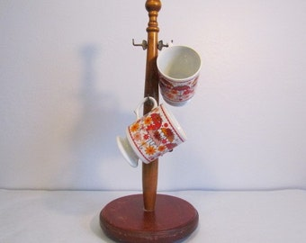 Vintage Mug Rack Coffee Cup Holder Wooden Free Standing Retro Kitchen (A)