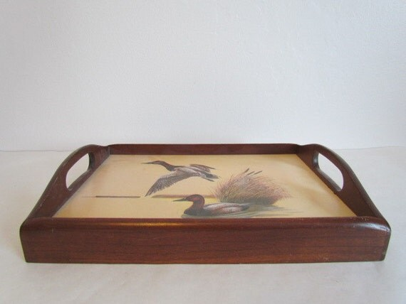 Vintage wooden mallard duck serving tray with handles cabin for Funky canape trays