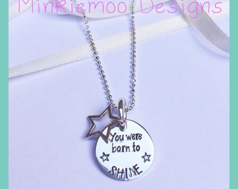 Born to shine stamped necklace, star charm, graduate gift, academic gift, performance recognition gift, keepsake, personalise to suit