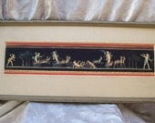 Original GIOVANNI GALLO Framed PAINTING of Pompeiian Fresco with Putti/Angels in Chariots