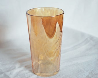 free shipping vintage-Carnaval-orange amber iridescence-water glass-tumbler