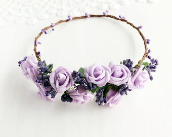 Purple Bridal Crown, Lilac Rose Circlet, Boho Crown, Girls Crown, Flower Girl Crown, Wedding Rose Crown, Lilac Bridal Halo, Lavender Crown