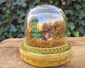 Vintage Folk Art Nativity Scene Diorama - Nativity Globe