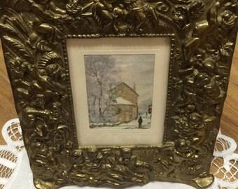 Brass Art Nouveau Frame with Cherubs