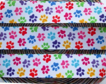 "7/8"" Printed Grosgrain Ribbon by the Yard, Paw Print Ribbon for Crafts, Dog Collars, or Gifts"