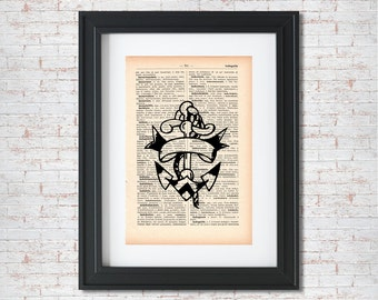 Anchor Old school tattoo Dictionary art print - Upcycled dictionary art - Book print page art  #003