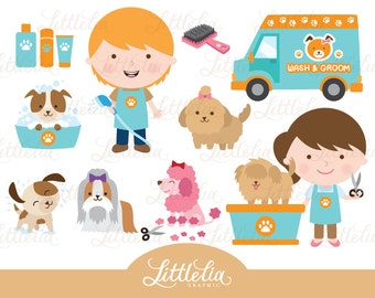 Dog's wash and grooming clipart - Dog clipart - Pet clipart - 15007