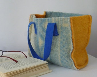 small tote bag, small shopper bag, felted woolen tot bag, light blue and orange, felted woolen blanket, canvas handles
