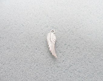 10 silver angel wing charms - double-sided  - tibetan silver - 18mm x 5mm - tibet silver charm - angel wings - silver wings
