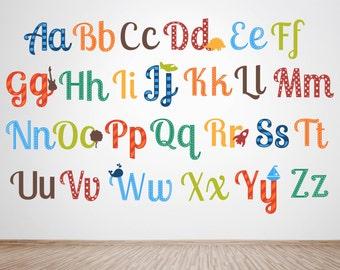 Alphabet Wall Art - Alphabet Wall Decals - Alphabet Letter Decals - Alphabet Nursery Art - Alphabet Nursery Art - Alphabet Nursery Decor