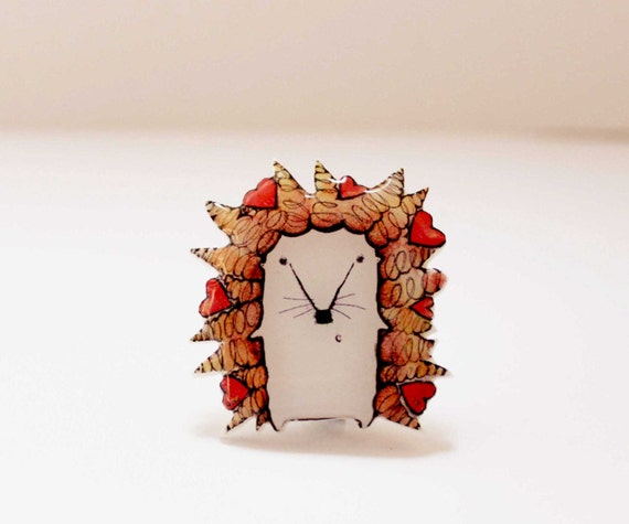 Free shipping Hedgehog brooch pin Hedgehog jewelry Animal brooch pin Hedgehog  with hearts (0057)