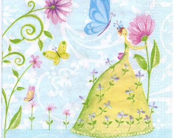 4 Decoupage Napkins | Fairies Flowers and Butterflies | Garden Napkins | Fairy Napkins | Dancing Napkins | Paper Napkins for Decoupage