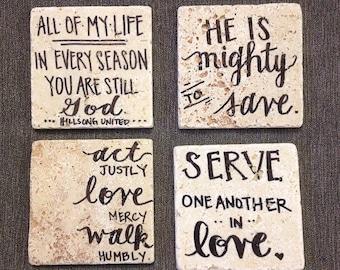 Bible Verse // Natural Stone Coasters