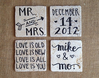 Custom Wedding Anniversary Gift // Natural Stone Coasters