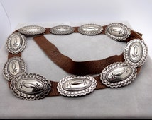 Vintage STERLING CONCHO BELT Native American Navajo Toni Curtis Sterling Silver Stamped Patterns Concho Belt 32""
