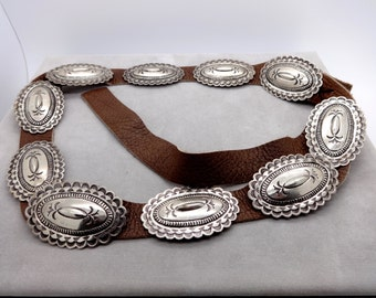 "Vintage STERLING CONCHO BELT Native American Navajo Toni Curtis Sterling Silver Stamped Patterns Concho Belt 32"""