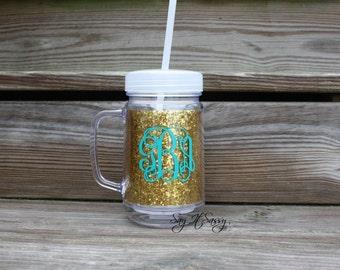 SALE Monogrammed Gold Glitter Mason Jar Tumbler