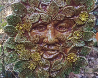 Large Green man Plaque 'Spring' Jack in the green, pagan, wiccan, mayday,