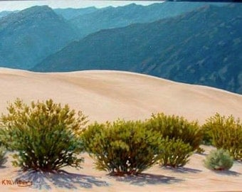 Framed, 'Morning Blues' Death Valley, California, original Landscape Painting, desert, oil, plein air, realistic, western art