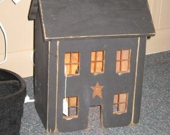 Primitive Salt Box Lighted House