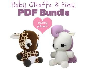 """PDF sewing pattern bundle - Giraffe and My Little Pony Unicorn Pegasus stuffed animal plush - kawaii anime plushie large 13"""" and 18"""""""