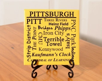Pittsburgh words tile with stand