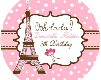 """Personalized Stickers Paris Party, Eiffel Tower Party Personalized Labels Size 2.25"""""""